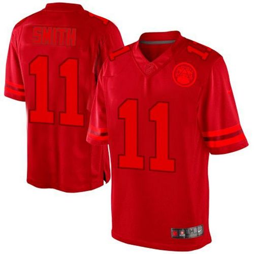 Nike Chiefs #11 Alex Smith Red Men's Embroidered NFL Drenched Limited Jersey